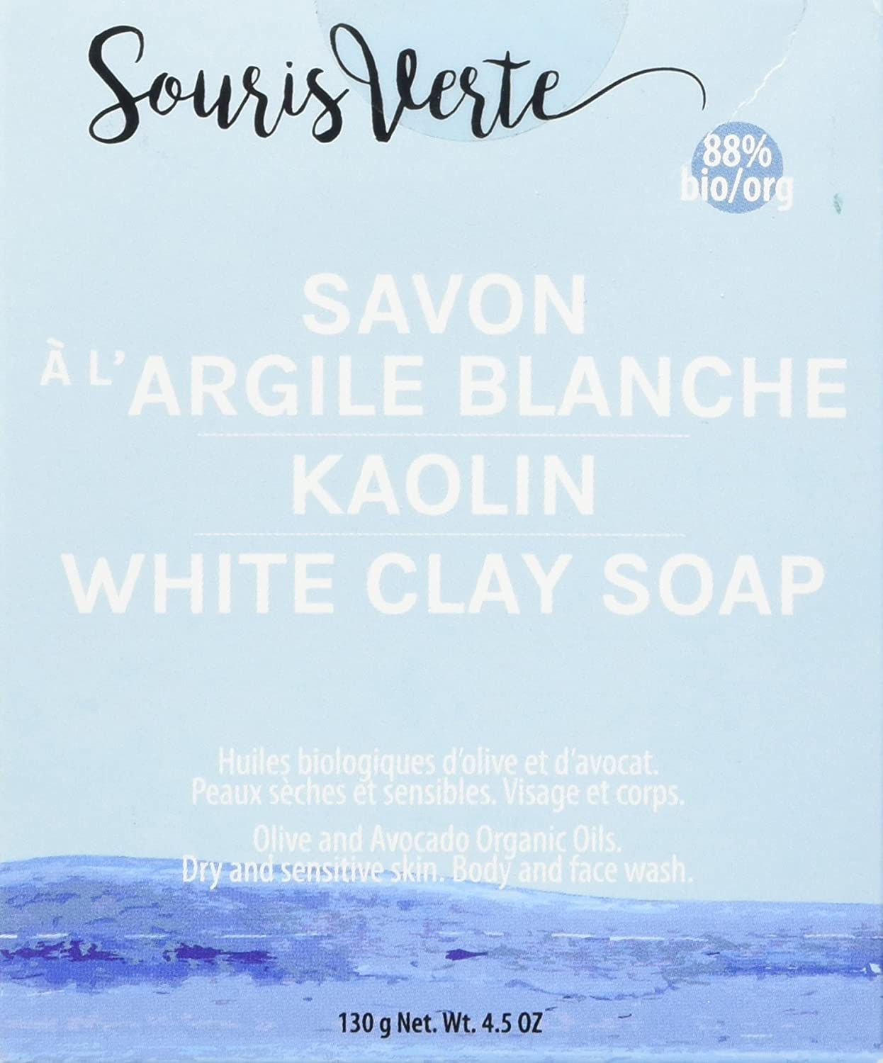Souris Verte Natural Organic Soap Bar, Kaolin White Clay, 130g 943