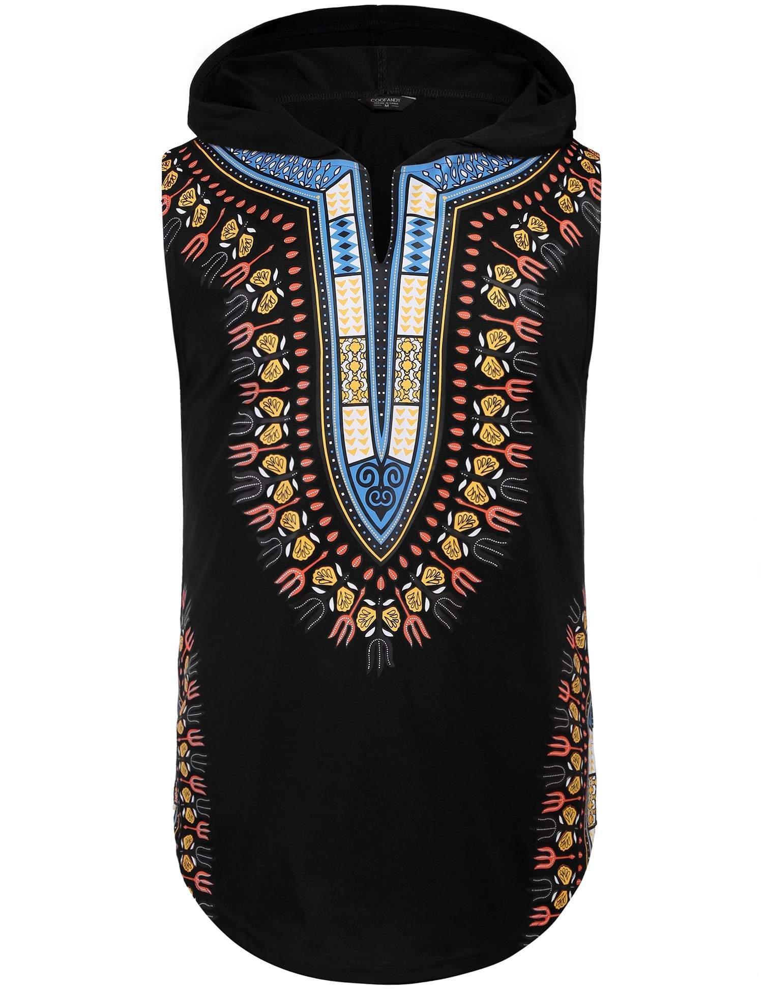 bd95608166 COOFANDY Mens African Print Dashiki Hooded Fashion Sleeveless Tank ...