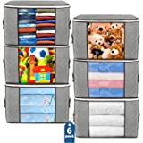 Large Storage Bags, 6 Pack Clothes Storage Bins Foldable Closet Organizers Storage Containers with Durable Handles Thick Fabr