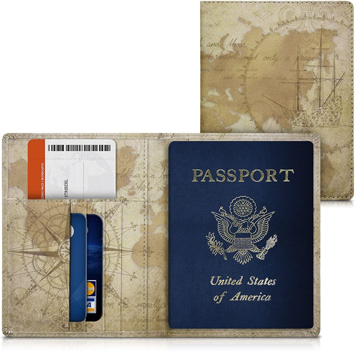 PU Leather Cover Protective Case kwmobile Passport Holder with Card Slots