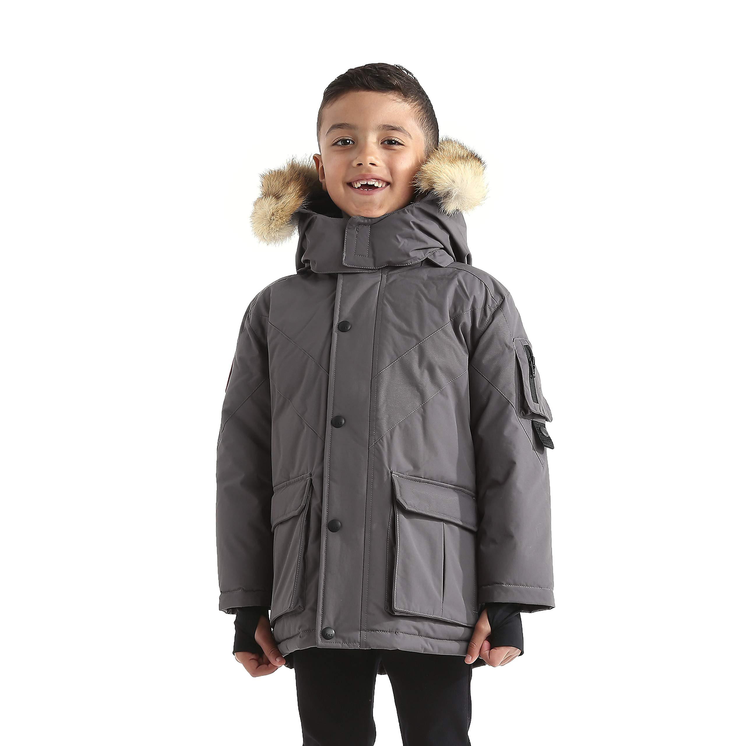 Triple F.A.T. Goose Hesselberg Boys Hooded Goose Down Arctic Parka with Real Coyote Fur (7, Grey)