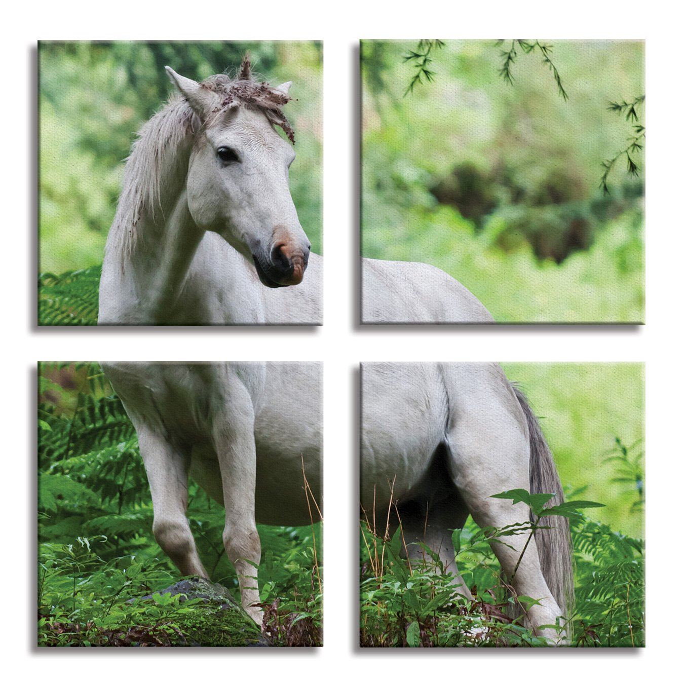 JP London 4 Panels 14in 4 Huge Gallery Wrap Canvas Wall Art Wild Arabian Night Horse Free Forest At Overall 28in QDCNV2280