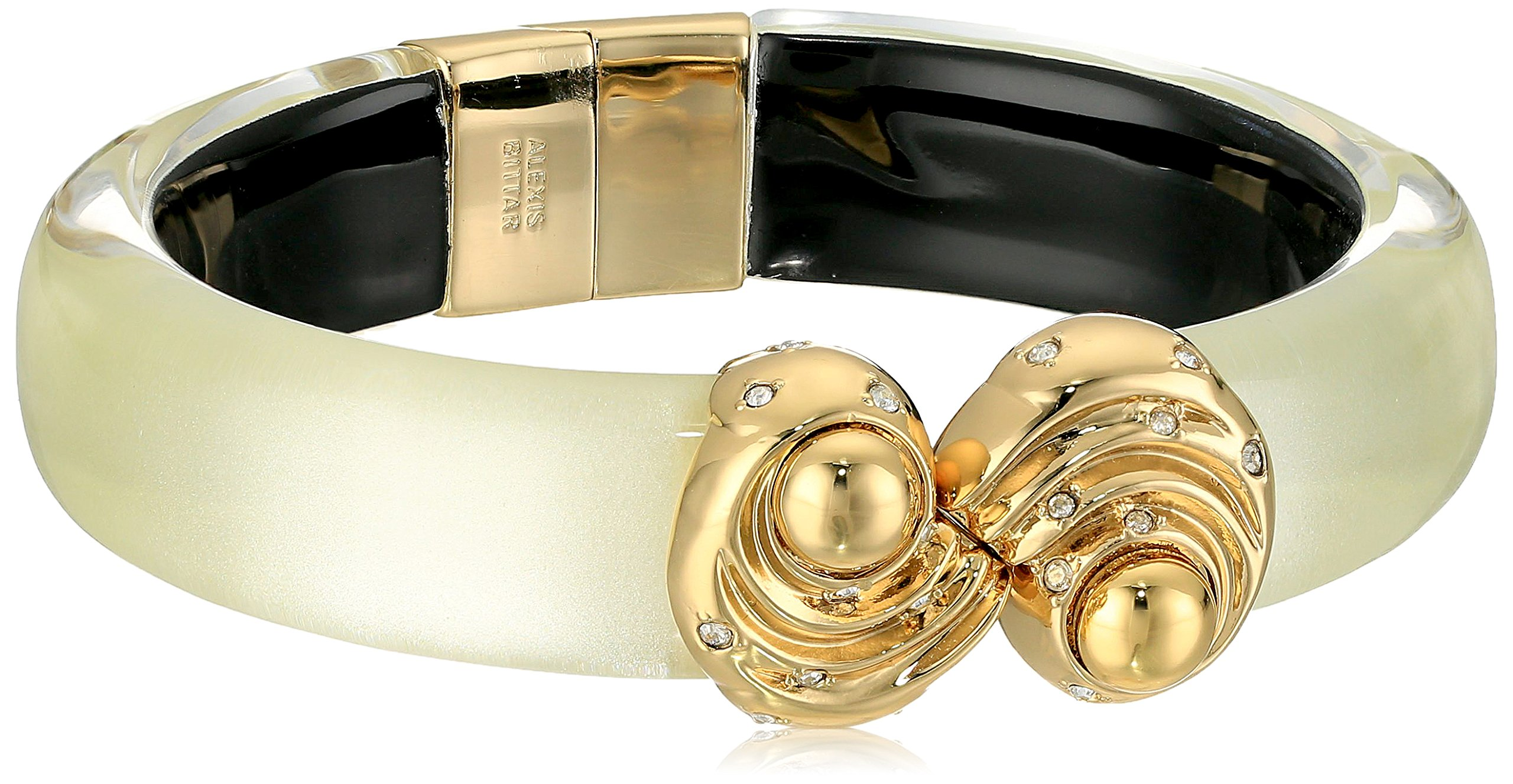 Alexis Bittar Crystal Studded Shell Capped Hinge Ivory Cuff Bracelet