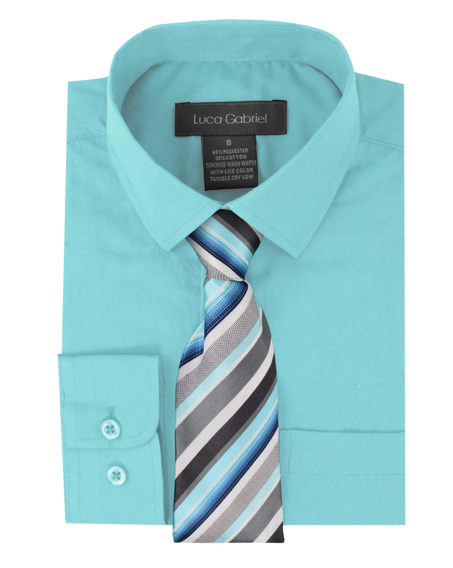 Luca Gabriel Toddler Boy's Long Sleeve Formal Button Down Dress Shirt & Tie Set - Aqua 2t