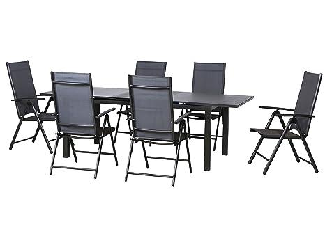 7 Juego de lujo aluminio tejido muebles de jardín grupo