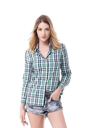Pau1Hami1ton G-03 Camisa Cuadros Manga Larga Mujer Camiseta Casual Slim Fit