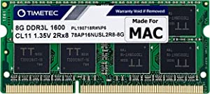 Timetec Hynix IC 8GB Compatible for Apple DDR3L 1600MHz PC3L-12800 for MacBook Pro (Early/Late 2011,Mid 2012), iMac(Mid 2011,Late 2012,Early/Late 2013,Late 2014,Mid 2015), Mac Mini(Mid 2011,Late 2012)