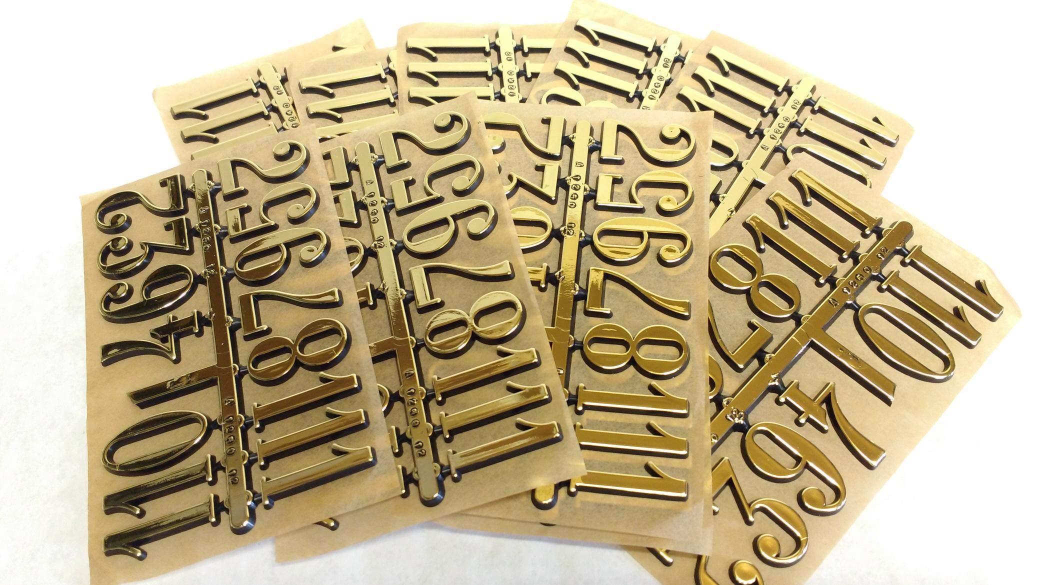 1-1/4'' Gold Arabic Number Set - 10 Pack