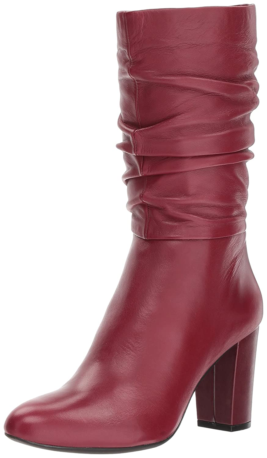 Anne Klein Women's Nysha Leather Fashion Boot B07693G7CZ 10 B(M) US|Wine Leather