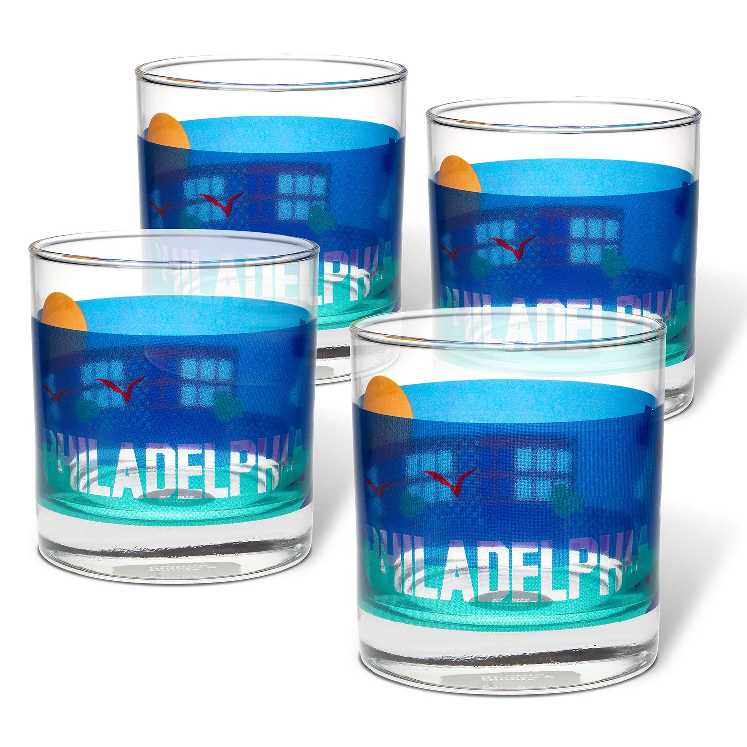People Set of 4 Multi Places /& Things 3-00468 Philadelphia Rocks Glasses