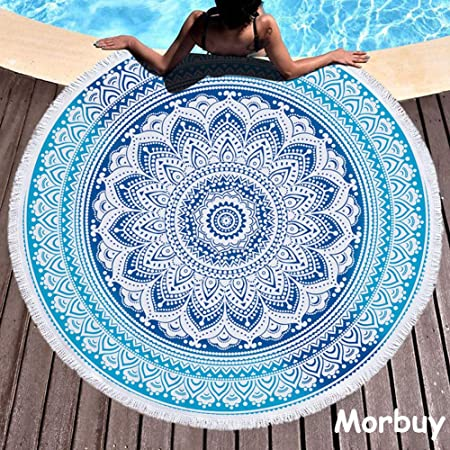 Morbuy Toalla de Playa Redonda, Estilo Mandala Indio ...