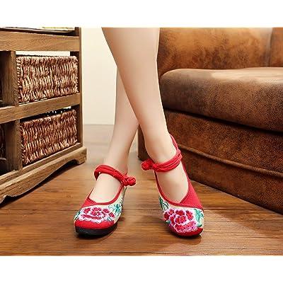 &hua Chaussures brodées, lin, semelle tendine, style ethnique, chaussures féminines, mode, confortable, pente Augmenté