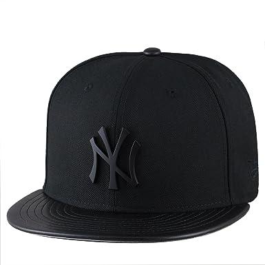 aeaab671 New Era New York Yankees Fitted Hat Cap Black Metal Badge/PU Leather Visor (