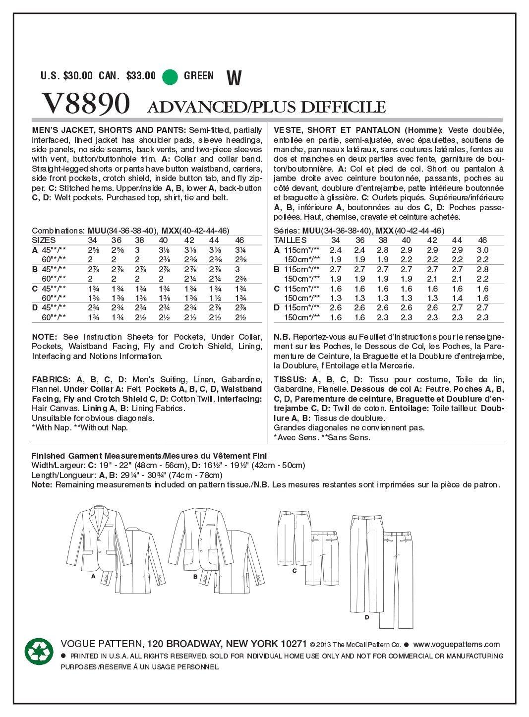 Vogue Patterns V8890 - Patrones de costura para chaquetas, bermudas ...