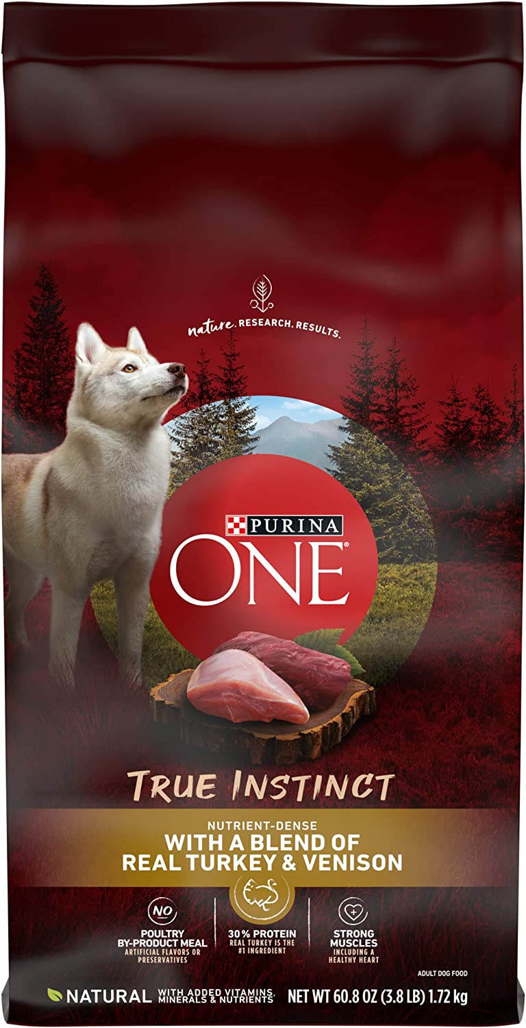 Purina ONE High Protein Natural Dry Dog Food, SmartBlend True Instinct With Real Turkey & Venison - 3.8 lb. Bags, Pack of 4