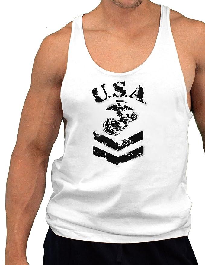 fdf68f53c2804f USA Military Marine Corps Stencil Logo Mens String Tank Top at Amazon Men s  Clothing store