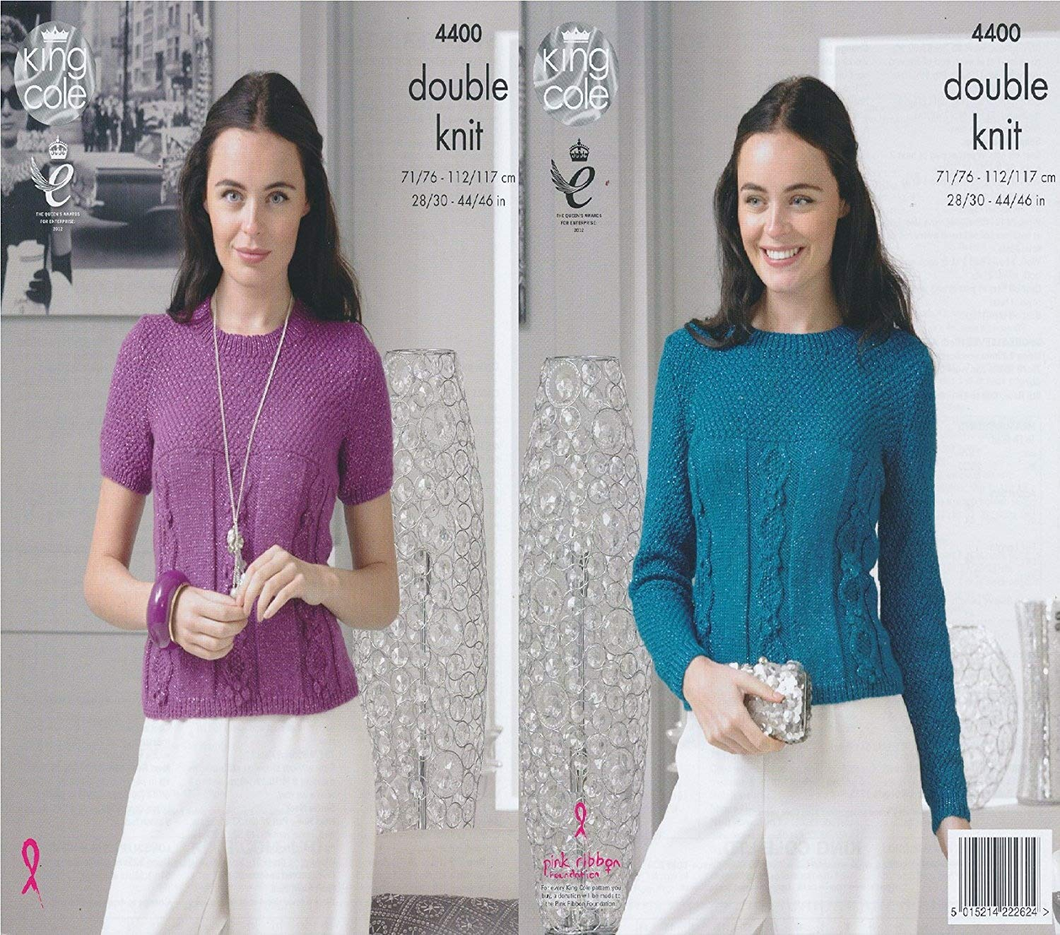 ad5188f3a King Cole Ladies Double Knitting Pattern Womens Cable Detail Sweater   Top  Glitz DK (4400) by King Cole  Amazon.co.uk  Kitchen   Home