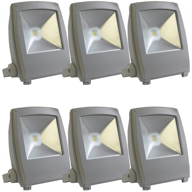 SEIKOH LED投光器 フラットライト 50w 発光色 6000K 防水 360度角度 3M電源コード付 6個セット A42Y50BSET6 B01AHSORSU 28880