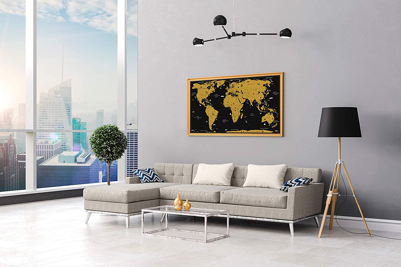 Sticker WIDETA Scratch Off World Map French//XXL Bonus Map of France 82 x 43 cm Token and Scratch Pen//Gold Edition