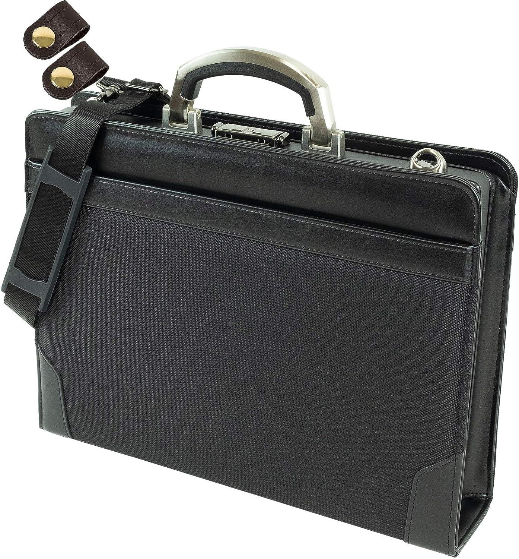 ダレスバッグ ビジネスバッグ 高強度素材使用 アルミ製取手 A4ファイル対応 + [タケハチ] 竹八謹製 [牛革製ケーブルバンド2個] セット tm0476 B0792FGFTH ブラック