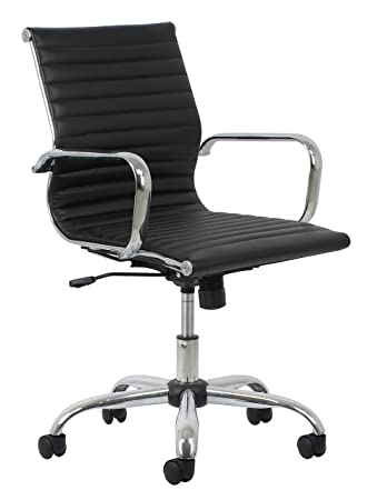 Amazing Essentials Soft Ribbed Leather Executive Conference Chair With Arms    Ergonomic Adjustable Swivel Chair, Black