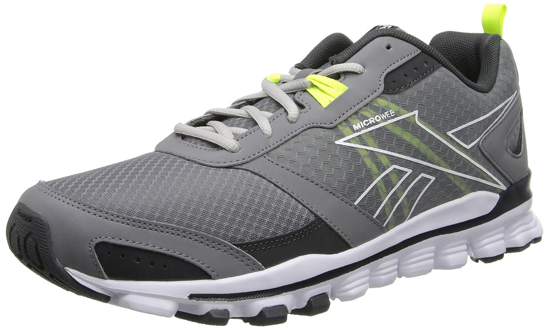 Reebok Men's Hexaffect Run Running Shoe B00LH15QT6 7 D(M) US|Foggy Grey/Gravel/White/Solar Yellow/Steel