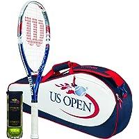 Wilson Sporting Goods Wilson US Open Tennis Racket Bag & Balls Package, Red/White/Blue