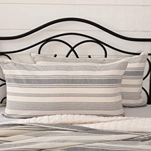 "Piper Classics Farm Market King Pillow Sham, 21"" x 37"", Urban Rustic Farmhouse Bedding, Pillow Cover w/Natural Cream and Gray Stripes"
