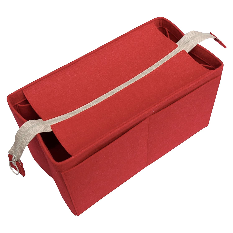Felt Tote Organizer (w/Top Zipper), Bag in Bag, Wool Purse Insert, Customized Tote Organize, Cosmetic Makeup Diaper Handbag