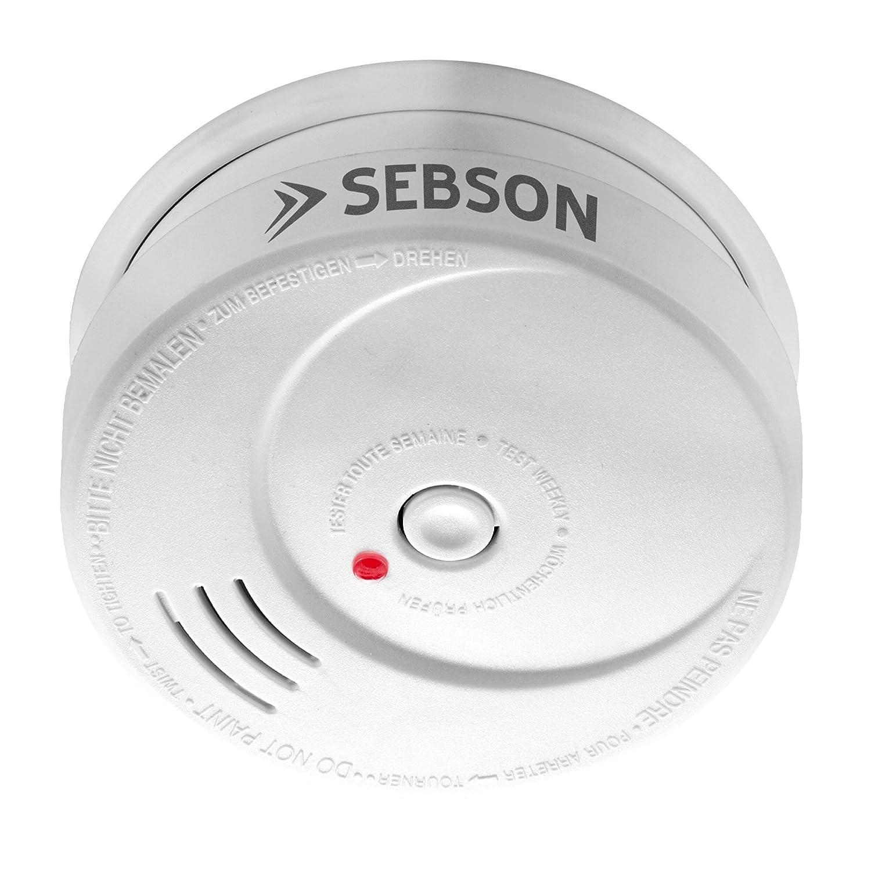 SEBSON Detector de Humo NF, Batería de Litio de Larga Duración 10 Años, DIN EN 14604, Detectores fotoeléctricos de Humo, GS506