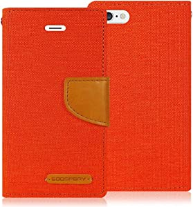 Goospery Canvas Wallet for Apple iPhone 6S Case (2015) iPhone 6 Case (2014) Denim Stand Flip Cover (Orange) IP6-CAN-ORG