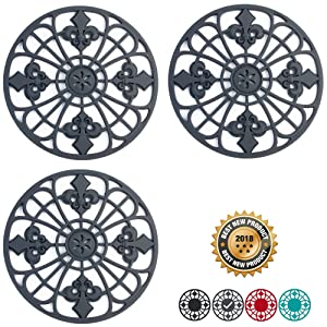 "Silicone Trivet Set For Hot Dishes | Modern Kitchen Hot Pads For Pots & Pans | Fleur De Lis Design (Symbol of Royalty) Mimics Cast Iron Trivets (7.5"" Round, Set of 3, Dark Gray)"