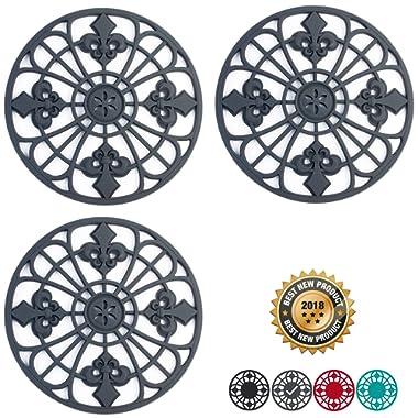 Silicone Trivet Set For Hot Dishes | Modern Kitchen Hot Pads For Pots & Pans | Fleur De Lis Design (Symbol of Royalty) Mimics Cast Iron Trivets (7.5  Round, Set of 3, Dark Gray)