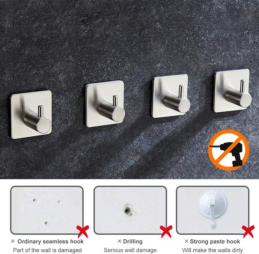 Handtuchhaken Selbstklebender Kleiderhaken in 4 St/ücke Rostfreier Wandhaken Handtuchhalter f/ür Badezimmer und K/üche Bohren nicht notwendig von Nozdom