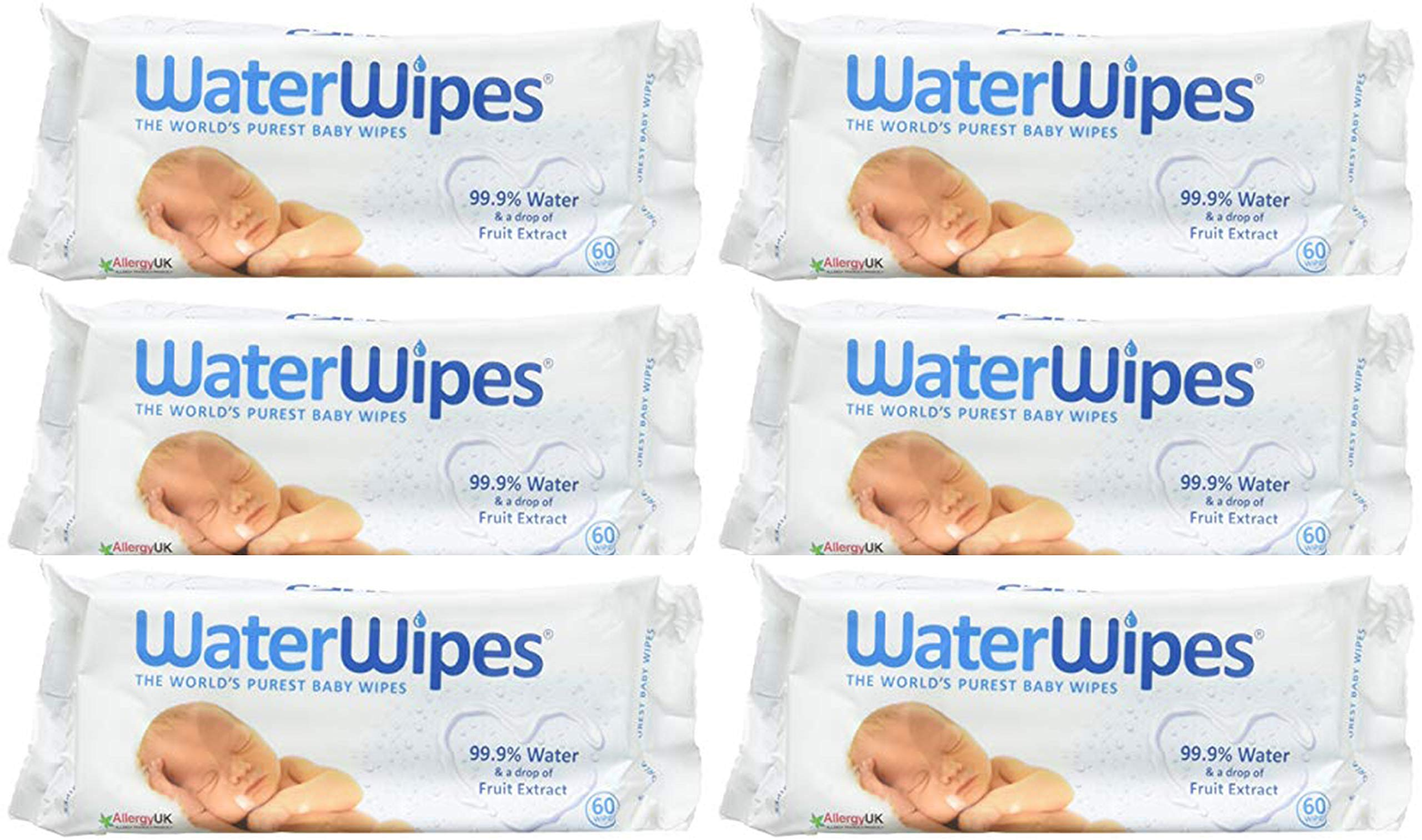 Dermah2O Dermah20 Water Wipes - ''Worlds Purest Baby Wipes'' 60S (Pack Of 6) by WaterWipes
