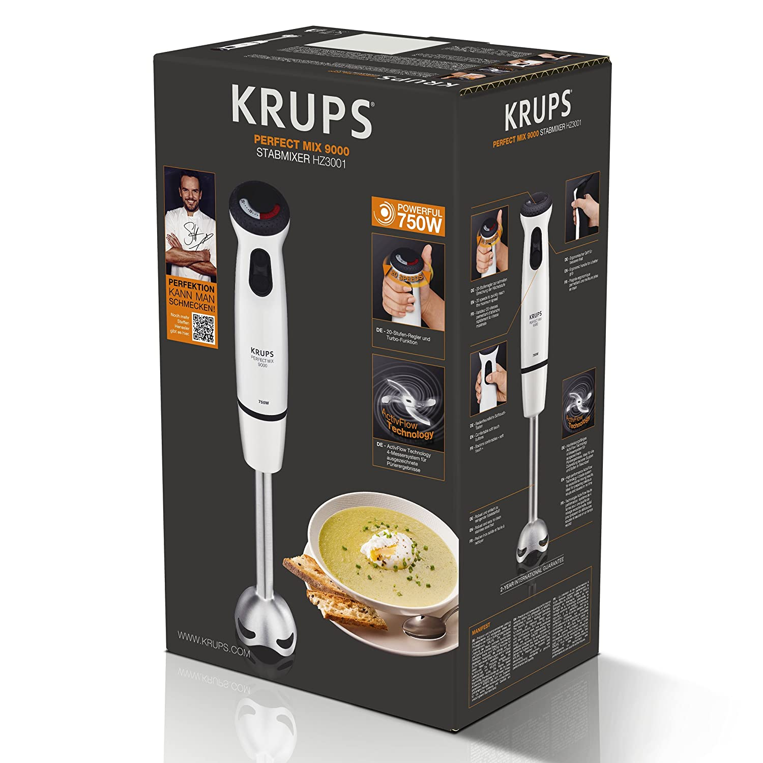 Krups Perfect Mix 9000 Hand mixer Gris, Color blanco 0.8L 750W - Licuadora (Acero inoxidable): Amazon.es: Hogar