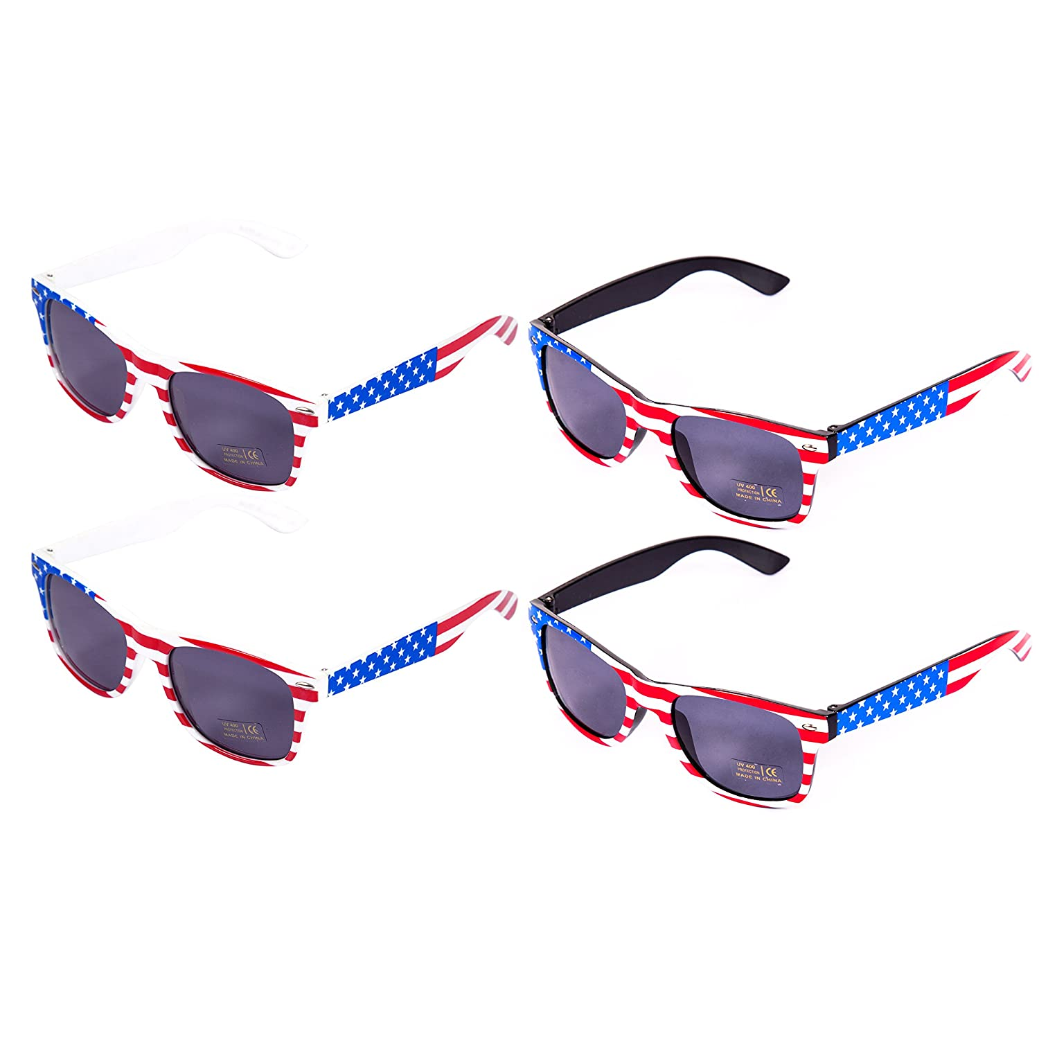 2e58fe474d49 PACK OF 4 AMERICAN FLAG STYLE SUNGLASSES - Make this 4th of July  Celebration the best with this rockin  4 pack of patriotic ...