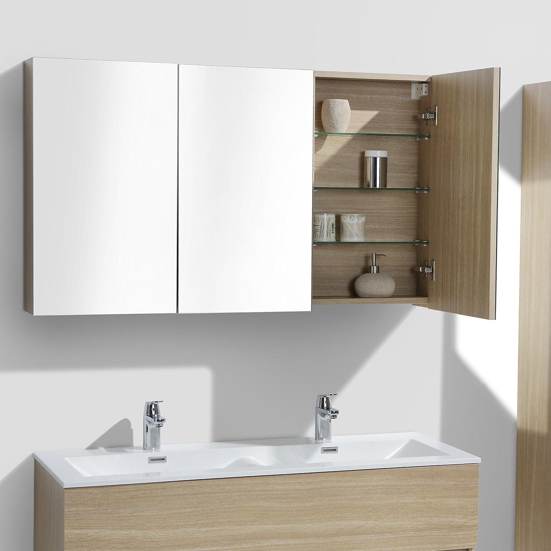 Armario espejo baño 120cm MONTADO tinte Roble Claro SIENA