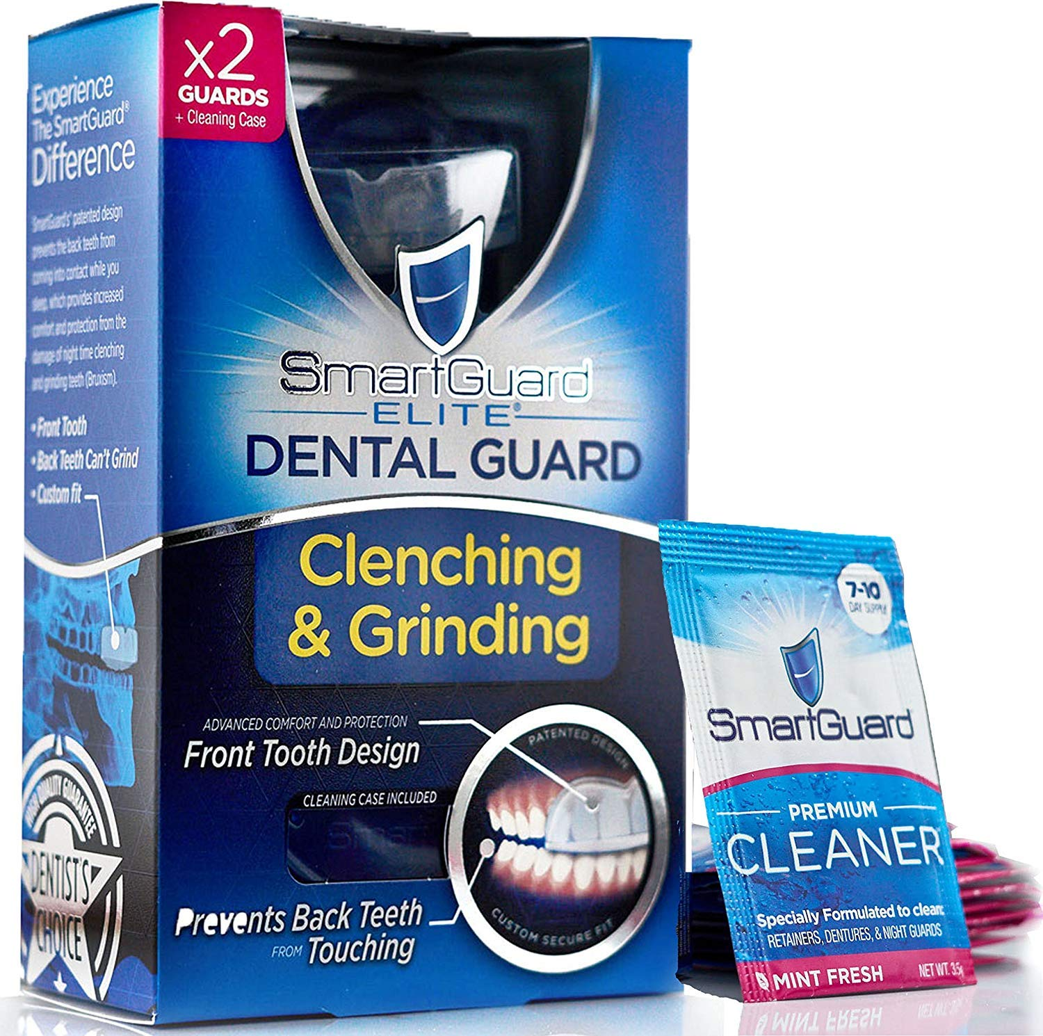 SmartGuard Elite Dental Guard (2 Guards) + Storage Case & 2 Months of Cleaning Crystals - TMJ Dentist Designed Night Guard for Clenching & Grinding. Made in USA by SmartGuard