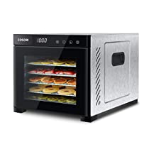COSORI Food Dehydrator Machine (50 Free Recipes), Stainless Steel Dryer for Fruit, Meat Dog Treats, with Timer and Temperature, Control, 6 Trays, ETL Listed, Beef Jerky, Herbs, CP267-FD, Black