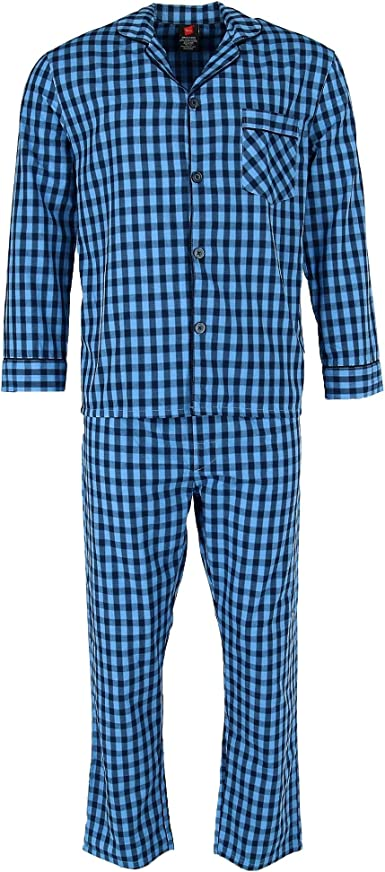 Fruit of the Loom Mens Long Sleeve Broadcloth Pajama Set
