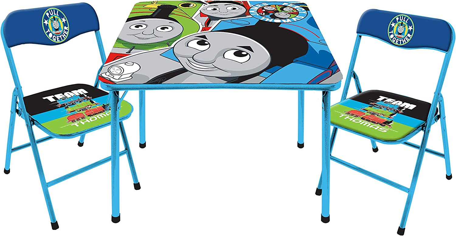 Idea Nuova Thomas & Friends 3 Piece Foldable Table and Chair Set, Ages 3+, Blue