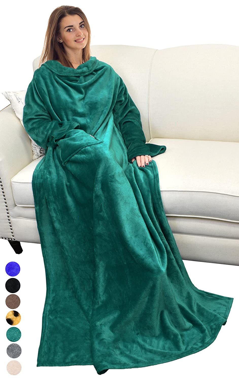 Catalonia Wearable Blanket with Sleeves and Pocket, Comfy Soft Fleece Mink Micro Plush Wrap Throws Blanket Robe for Women and...
