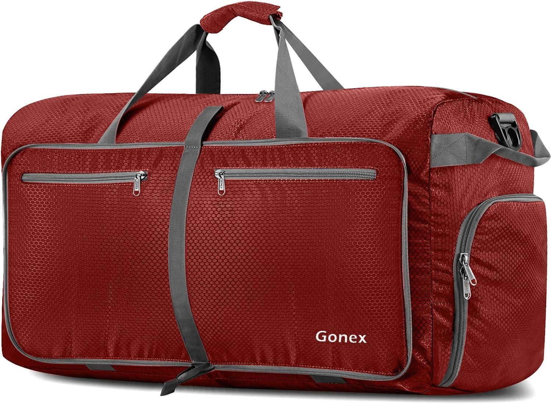 Gonex Bolsa de Viaje 150L, Plegable Ligero Bolso Equipaje Maleta Grande Bolsas Deportes Gimnasio Maletas de Mano Impermeable Duffel Travel Bag para Hombres y Mujeres Fin de Semana (Rojo)