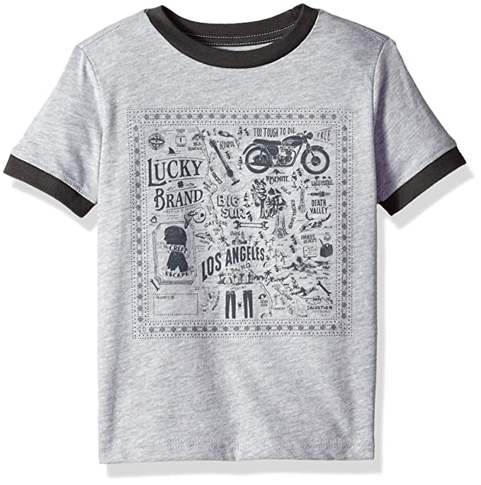 17c483a0c0b Amazon.com  Lucky Brand Toddler Boys  Short Sleeve Graphic Tee Shirt ...