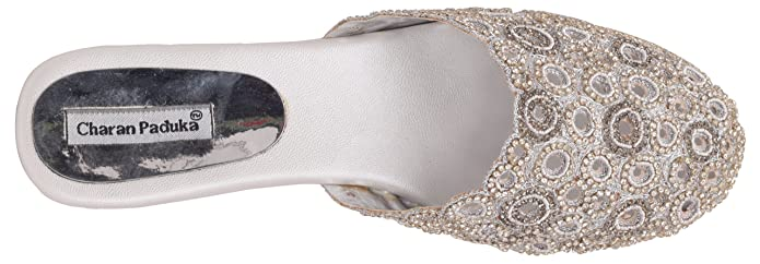 e05149d5999ae6 Charan Paduka Women s Silver Beaded Clogs- 10 U.K  Buy Online at Low Prices  in India - Amazon.in