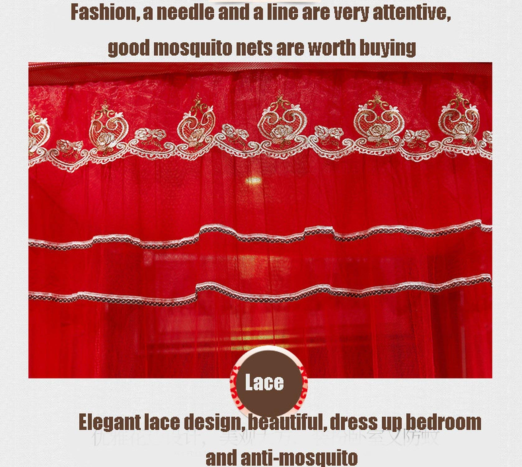 Fishing Rod Retractable Mosquito Net Multi Size Wedding Lace Mosquito Net 50D Encryption Soft Yarn Nice Bed Decor,Red,1.5Mwx2Mlx2.1Mh by special shine-shop mosquito net (Image #5)