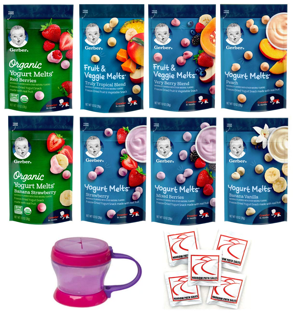 Yogurt Melts Gerber Graduates Ultimate - Bundle of 8 Yogurt Melts and 1 Snack Catcher Cup - Includes Every Melt Flavor Available