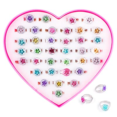 Colorful Assorted Gem Star Adjustable Rings with Heart Shape Display Case for Party Favors, Bridal Shower, Birthday, Adult & Children Size (36 Pack): Toys & Games