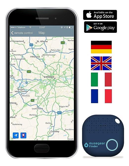 musegear® Schlüsselfinder mit Bluetooth App I Version 2 I Keyfinder laut für Handy in dunkelblau I GPS Ortung/Kopplung I Schl